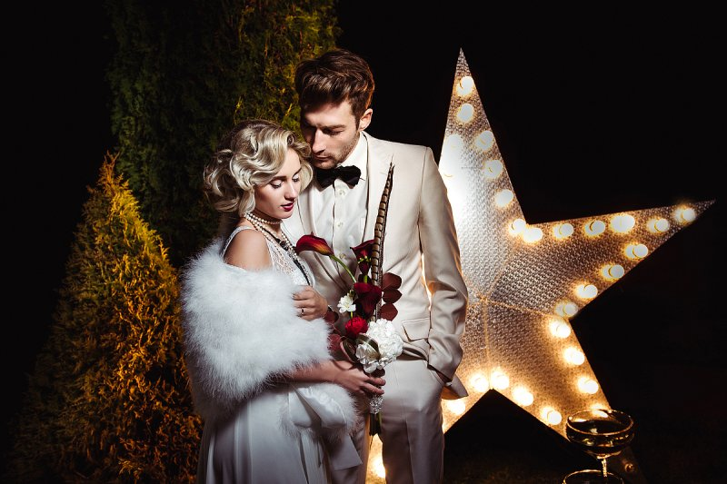 Свадьба в стиле «Голливуд» - оформление, декор, платье невесты
